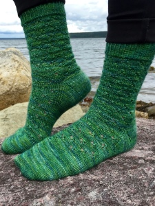 TWO IN CLOVER lace sock pattern by Allison O'Mahony http://kniterations.ca