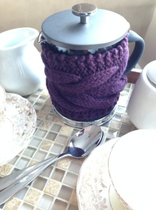 BERTHA teapot or French press cozy pattern by Allison O'Mahony http://kniterations.ca