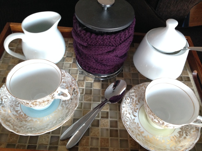 BERTHA teapot and French press cozy by Allison O'Mahony http://kniterations.ca