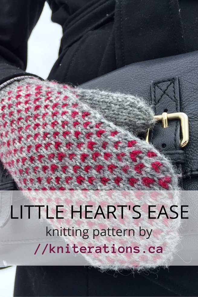 LITTLE HEART'S EASE mitten pattern by Allison O'Mahony at http://kniterations.ca